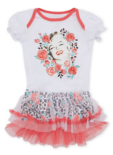 Baby Girl Marilyn Monroe Bodysuit and Tutu with Rose Leopard Print,LEOPARD PRINT,large