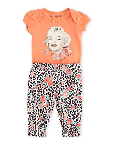 Baby Girl Marilyn Monroe Bodysuit and Leggings Set,FRESH SALMON,large