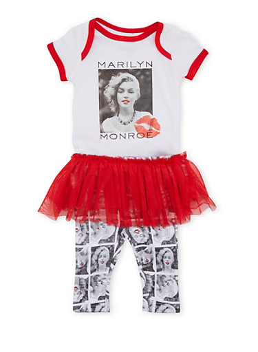 Baby Girl Bodysuit and Tutu Leggings with Marilyn Monroe Kiss Print,RED,large
