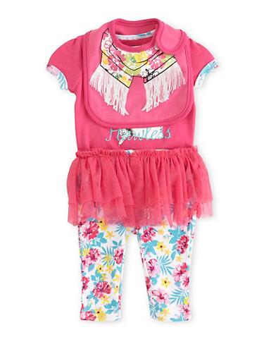 Baby Girl Bib Bodysuit and Leggings Set with Flawless Marilyn Print,FUCHSIA,large