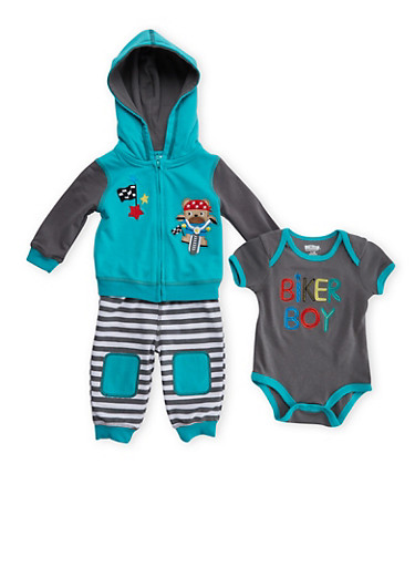 Baby Boy 3-Piece Set with Biker Boy Teddy Bear Embroidery,TURQUOISE,large