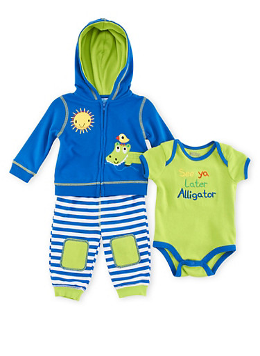 Baby Boy 3-Piece Set with See Ya Later Alligator Embroidery,ROYAL,large
