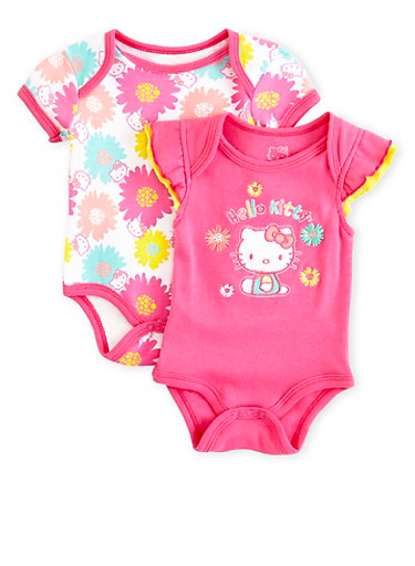 Baby Girl Two-Pack Hello Kitty Bodysuits,ROSE,large