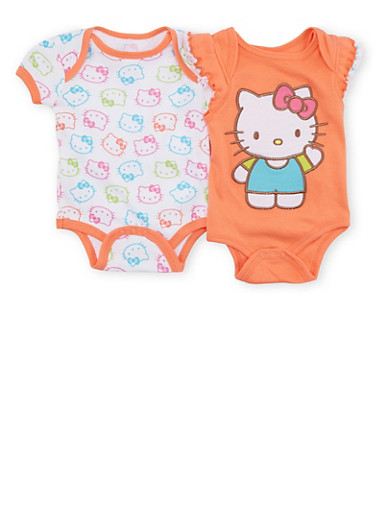Baby Girl Hello Kitty Bodysuit Two Pack,CORAL,large