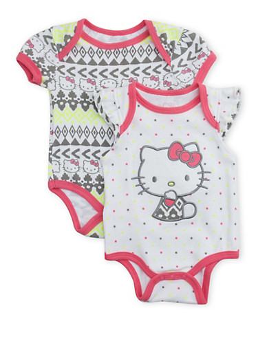 Baby Girl Hello Kitty Bodysuit Two Pack,WHITE,large