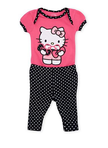 Baby Girl Hello Kitty Bodysuit and Leggings Set,FUCHSIA,large