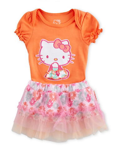 Baby Girl Hello Kitty Bodysuit and Tutu Set,CORAL,large
