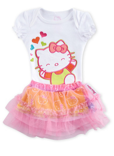Baby Girl Hello Kitty Bodysuit and Tutu Set,WHITE,large