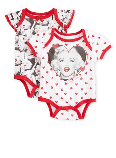 Baby Girl 2-Pack Marilyn Monroe Bodysuits,WHITE,large