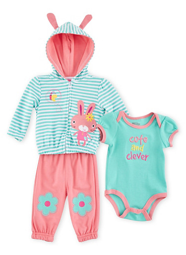 Baby Girl Three-Piece Set with Cute and Clever Bunny Embroidery,MINT,large