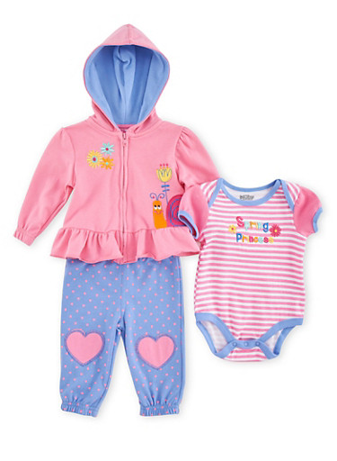 Baby Girl Three-Piece Set with Spring Princess Embroidery,PINK,large