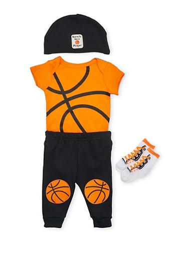 Baby Boy Basketball Bodysuit with Pants Socks and Hat Set,BLACK,large