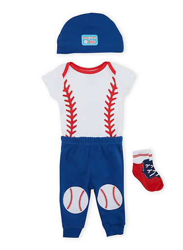 Baby Boy Baseball Jumpsuit with Joggers Cap and Socks,GREY,large