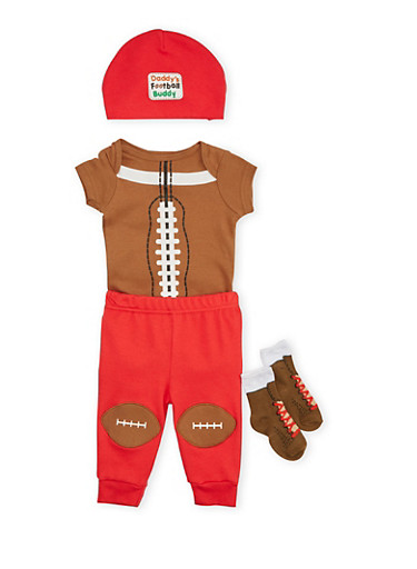 Baby Boy 4 Piece Set with Football Graphic,RED,large
