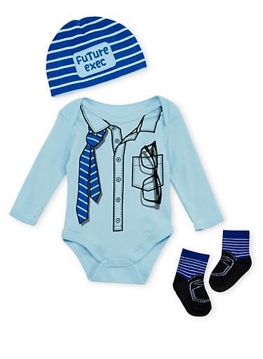 Baby Boy Trompe l'Oeil Executive Bodysuit Set,BLUE,large