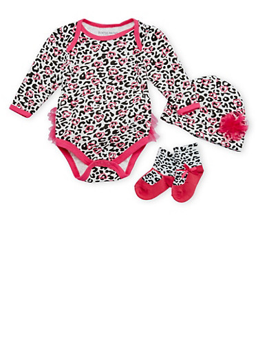 Baby Girl Leopard Print Bodysuit with Beanie and Socks,FUCHSIA,large