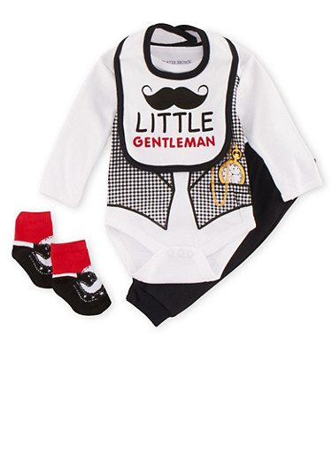 Baby Boy 4-Piece Set,BLACK,large