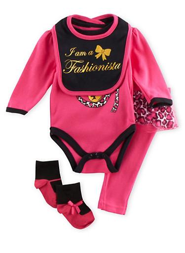Baby Girl Bodysuit with Leggings Bib and Socks Set,FUCHSIA,large
