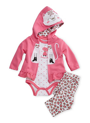Baby Girl Kitty Bodysuit with Hoodie and Leggings,PINK,large