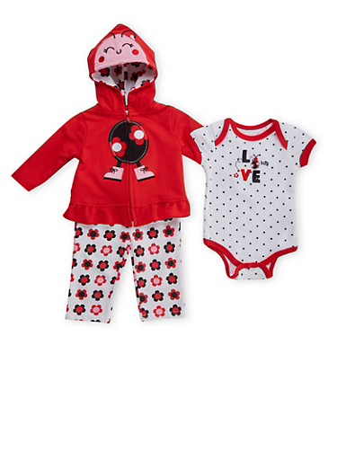 Baby Girl Bodysuit with Hoodie and Leggings Set,RED,large