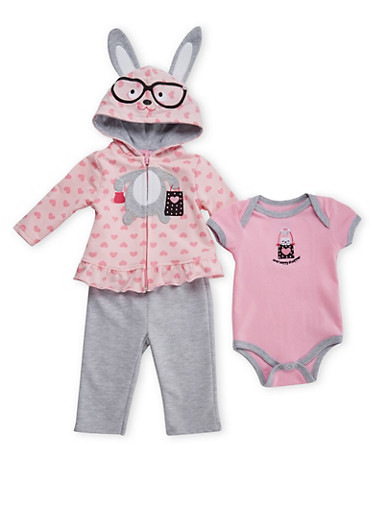 Baby Girl Bunny Bodysuit with Hoodie and Leggings Set,PINK,large
