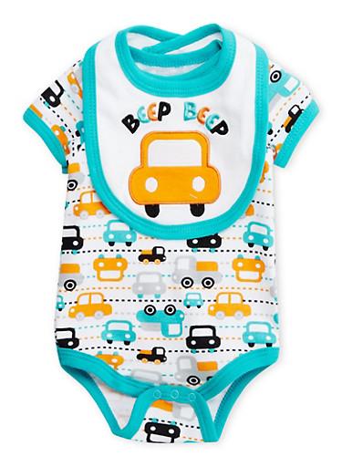 Baby Boy Bodysuit and Bib Set in Car Print,TEAL,large
