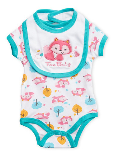 Baby Girl Bodysuit with Fox Print and Fox Baby Bib Set,TURQUOISE,large