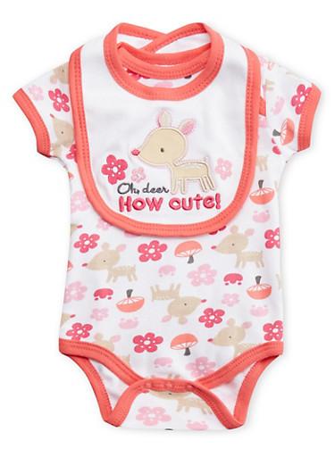 Baby Girl Deer Print Bodysuit with Bib Set,FUCHSIA,large