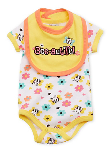 Baby Girl Bodysuit and Bib Set with Graphic,YELLOW,large
