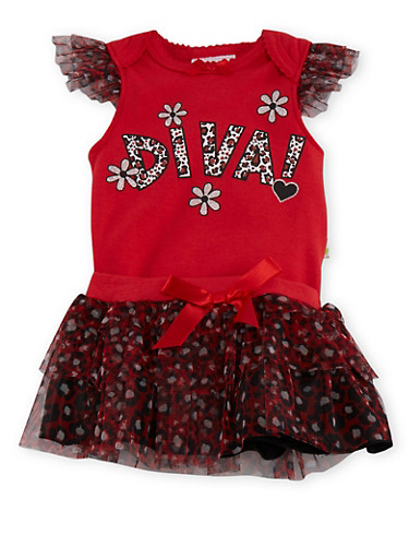 Baby Girl Printed Bodysuit and Tutu Set,RED,large