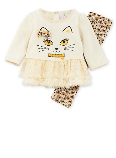 Baby Girl Tutu Dress and Leggings with Kitty Cat Print,IVORY,large