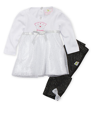 Baby Girl Dress and Leggings Set with Glitter Accents,WHITE,large