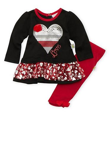 Baby Girls Tutu Top and Leggings Set,RED,large