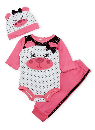 Baby Girl Bear Graphic Bodysuit with Hat and Pants Set,PINK,large