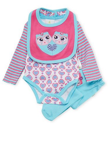 Baby Girl Bodysuit with Footed Pants and Bib Set,PINK,large