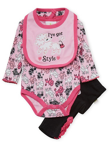 Baby Girl Sheep Print Bodysuit with Leggings and Bib Set,BLACK,large