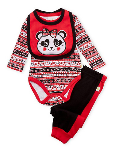 Baby Girl 3-Piece Set in Mixed Print,BLACK,large