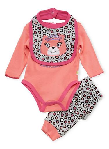 Baby Girl Princesss Bodysuit with Leggings and Bib Set,CORAL,large