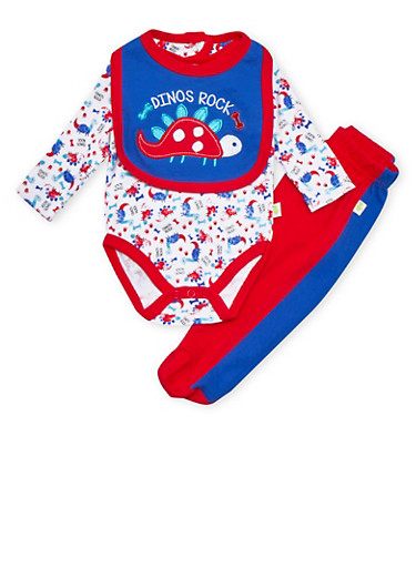 Baby Boy Dino Print Bodysuit with Footed Leggings and Bib Set,RED,large