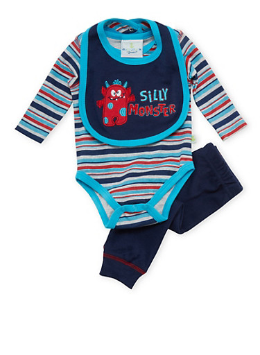 Baby Boy Silly Monster Bodysuit with Bib and Leggings Set,NAVY,large
