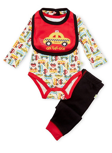 Baby Boy Bodysuit with Joggers and Bib Set,BLACK,large