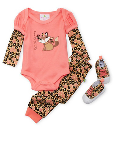 Baby Girl Layered Bodysuit with Leopard Print Leggings and Soft Sole Shoes Set,CORAL,large