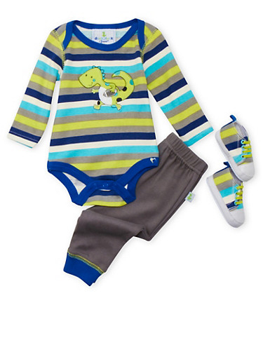 Baby Boy 3-Piece Set in Stripes,GREY,large