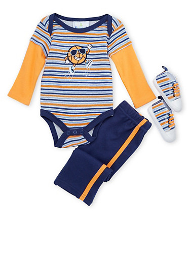 Baby Boy Bodysuit with Sweatpants and Soft-Sole Shoes Set,NAVY,large