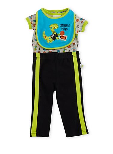 Baby Boy Bodysuit and Bib with Sweatpants Set,BLACK,large