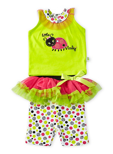 Baby Girl Tank Top and Leggings with Tutu Set,LIME,large