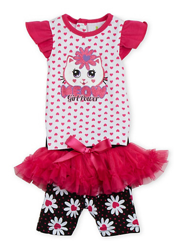 Baby Girl Top and Shorts Set with Meow Girl Power Graphic and Tutu Panel,FUCHSIA,large
