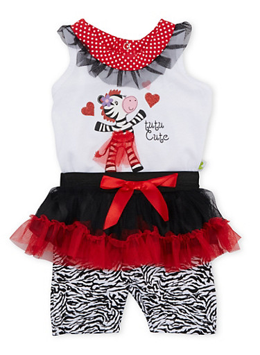 Baby Girl Top and Shorts with Tutu Set in Zebra Graphic,RED,large