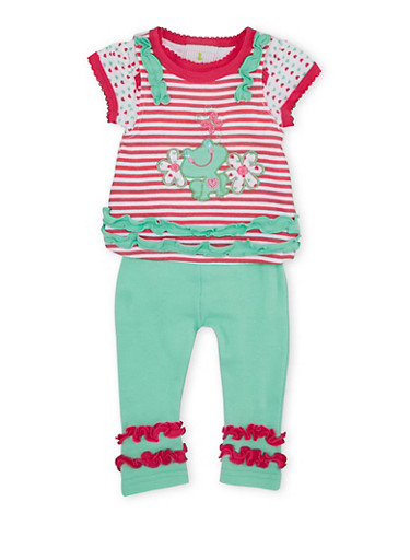 Baby Girl Tank Top and Bodysuit with Leggings Set,MINT,large