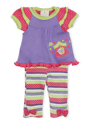 Baby Girl Bodysuit with Top and Pants Set,PURPLE,large